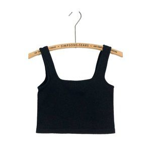 Ribbed Black Cropped Tank Top